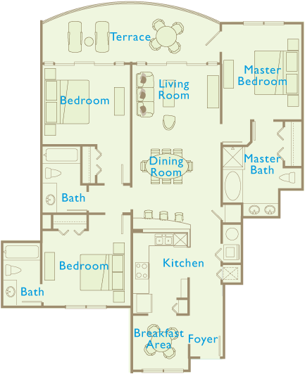 Aqua Beach Resort floor plan 3 Bedroom 3 Bath 1594 sqft