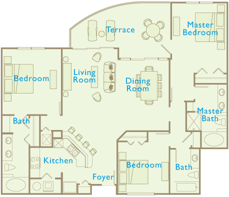 Aqua Beach Resort floor plan 3 Bedroom 3 Bath 1716 sqft