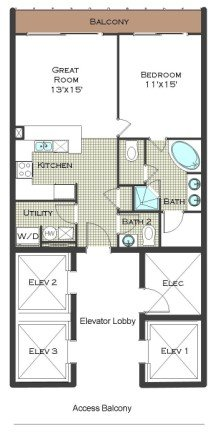 1 Bed 1.5 Bath - Calypso Resort Floor Plan
