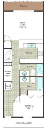 1 Bed 2 Bath - Calypso Resort Floor Plan