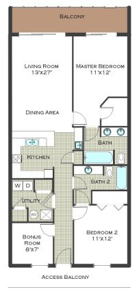 2 Bed 2 Bath - Calypso Resort Floor Plan