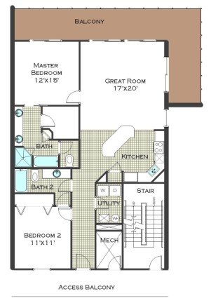 2 Bed 2.5 Bath - Calypso Resort Floor Plan