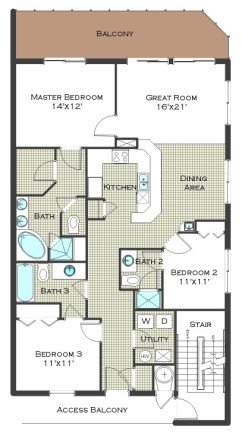 3 Bed 3 Bath - Calypso Resort Floor Plan